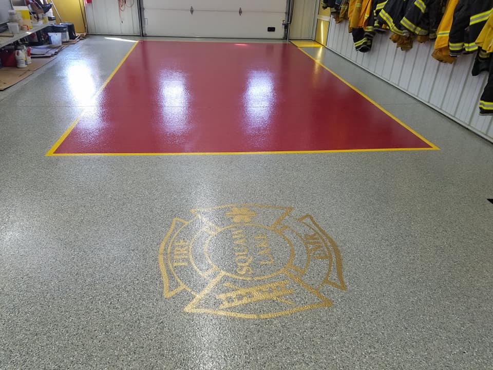 local fire department garage floor coating with custom design